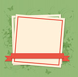 Green background with paper frame