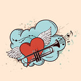 Red heart and trumpet