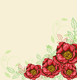 Background with red flowers