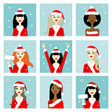 Santa girls, christmas postcards for your design
