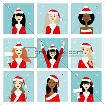 Santa girls, christmas postcards for your design