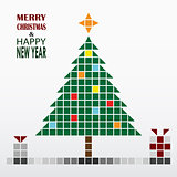 Christmas and New Year greeting card in retro style