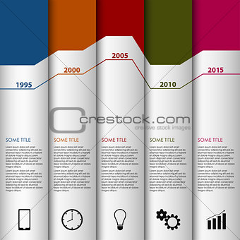 Time line info graphic white striped modern template