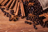 roasted coffee and cinnamon sticks