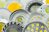 various GU10 LED bulbs with different sizes of chips and cooling