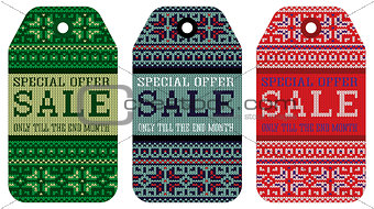 knitting varicolored pattern ornament christmas sale
