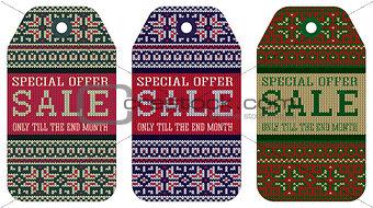 knitting varicolored pattern ornament christmas sale