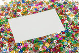 small color numbers confetti and empty card