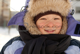 Little Boy Having Fun during winter