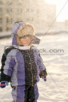 Little Boy Having Fun during winter