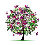 Spring tree floral for your design