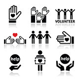 Volunteer, people helping or giving concept icons set