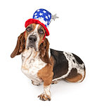 Basset Hound Dog Wearing Independence Day Hat