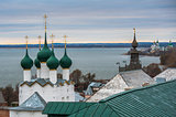 Rostov, Russia. Image of ancient Rostov city, view from the top. Beautiful house and chapel.