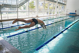Swimmer diving into the pool at leisure center