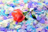 confetti and rose