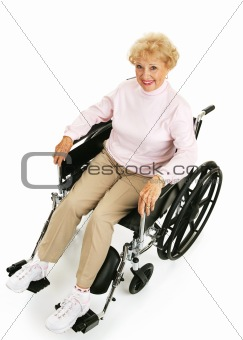 Smiling Senior Lady in Wheelchair