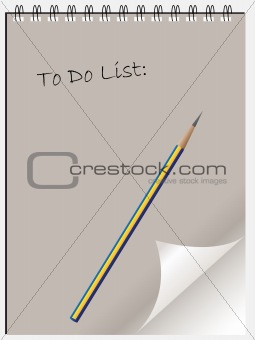 To do list notepad wtih page curl