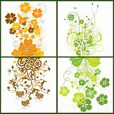 Floral grunge backgrounds, vector
