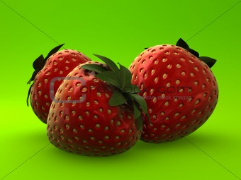 3d strawberries