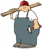 Carpenter With A Board And Hammer