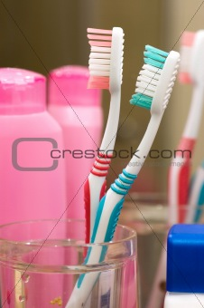 Toothbrushes at the bathroom