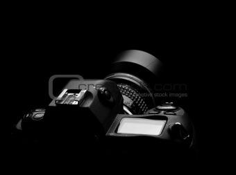Camera outline on black background