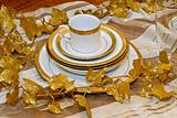 Golden crockery