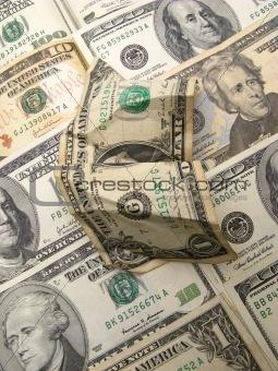 Crumpled dollar, closeup