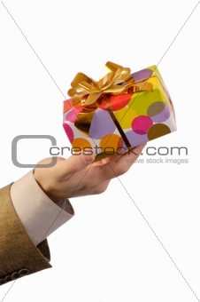 Man holding wrapped gift