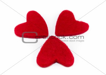 Three red hearts isolated