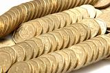 Stacks and rows of gold coins