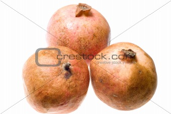 Three pomegranate
