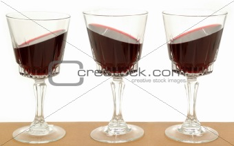 Three wineglasses and gravity