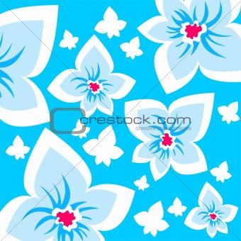 blue ornate flowers background