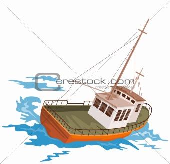 Fishing boat battling huge swells