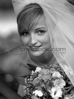 Pretty bride in portrait with veil
