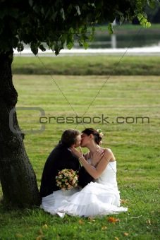 Kissing newklywed couple