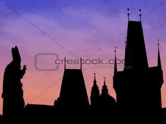 Prague skyline silhouette
