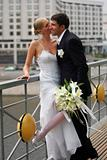 Kissing newlywed couple