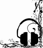 Abstract grunge headphone background