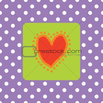 Painted red heart with polkadots