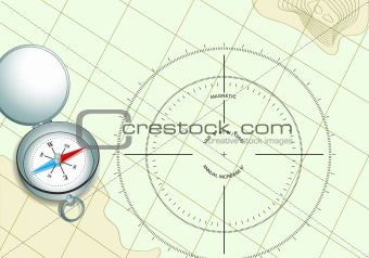 compass on navigation map