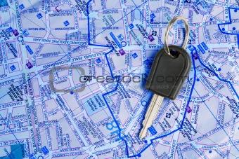 Car key on a map.
