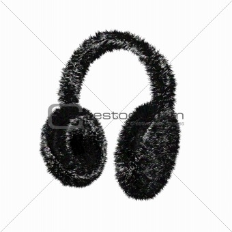 Black furry winter earmuffs
