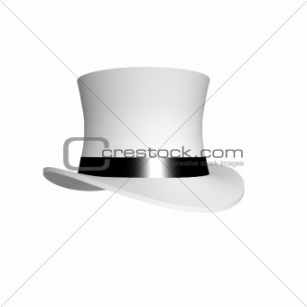 Classic white top hat with black shiny band