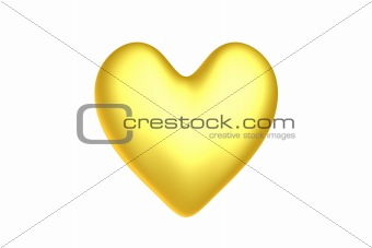 3d render of a golden heart
