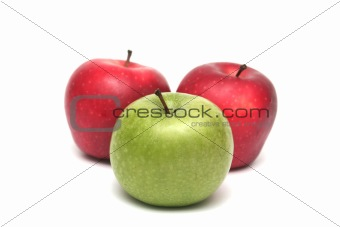 Three tasty apples on a white background