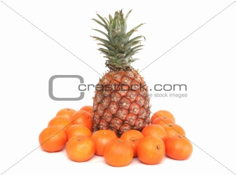 One ripe pineapple and tangerines on a white background