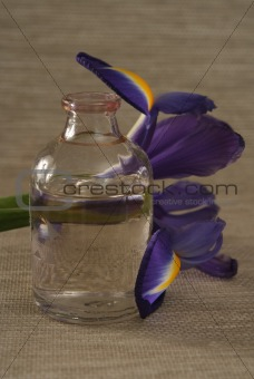 One bottle with oil and a flower